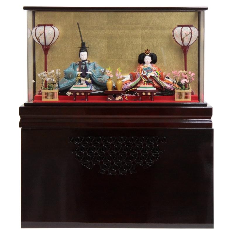龍翠の逸品ケース飾りです。収納も出し入れも簡単です。 雛人形 親王逸品ケース飾り 花紋(2人) 幅63cm 【183to1224】龍翠 雛祭り