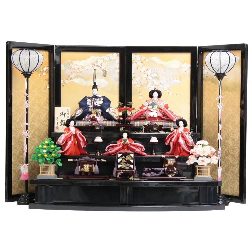 雛人形 五人三段飾り【桜刺繍揃】[193to1014]落し屏風 雛祭り