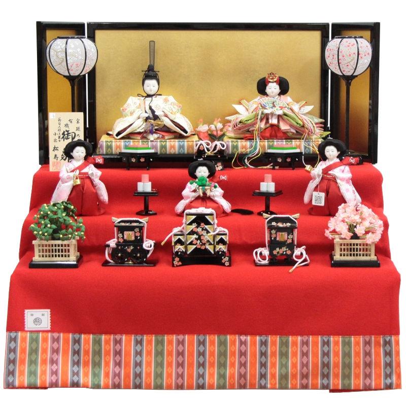 雛人形 五人三段飾り【おぼこ雛】 [幅69cm] 小出松寿 市川伯英 頭 [193to1680a42a50] 雛祭り