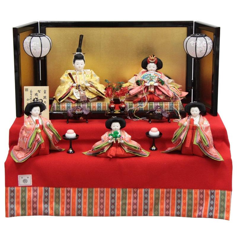 雛人形 五人二段飾り【おぼこ雛】[幅75cm]小出松寿 市川伯英 頭[193to1683a44a17] 雛祭り