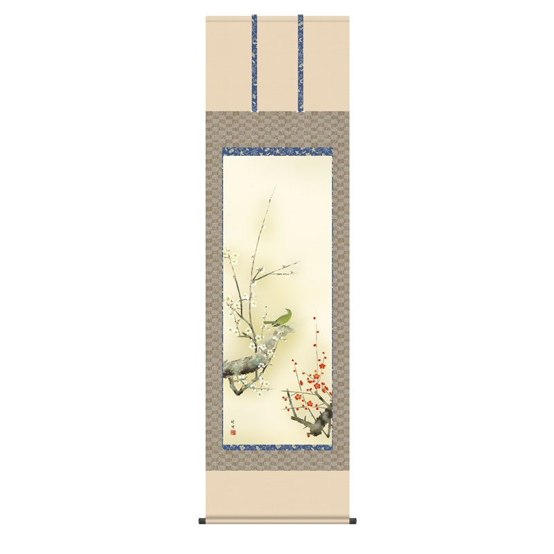 掛軸 [花鳥画]春掛け 【紅白梅に鶯】 [尺五] [田村竹世] [KZ2A2-082](代引き不可)