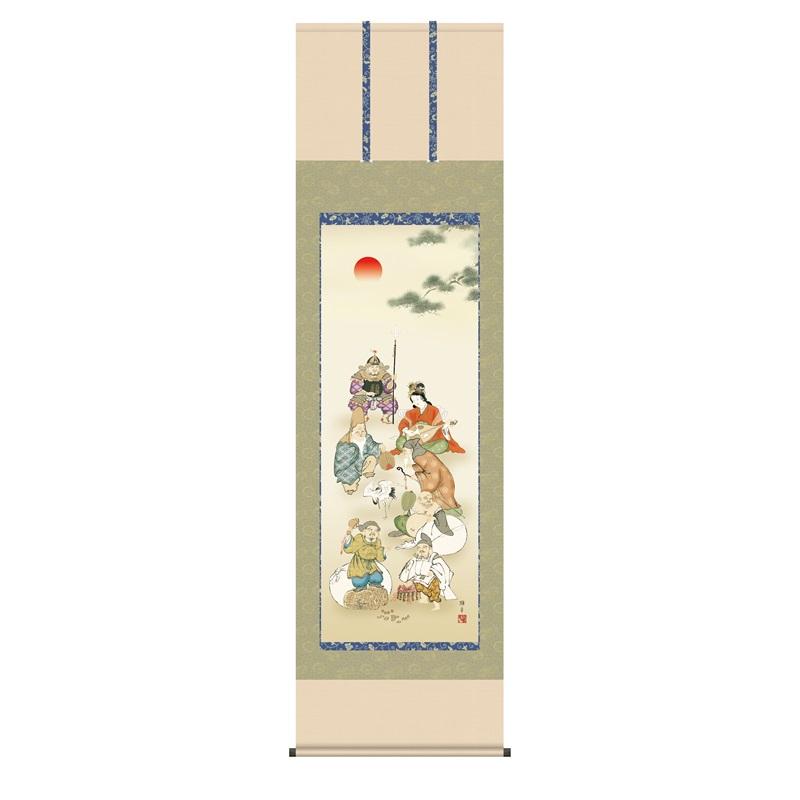 掛軸 慶事飾り[縁起画] 【七福神】 [尺五] [鵜飼雄平] [KZ2D1-029](代引き不可)