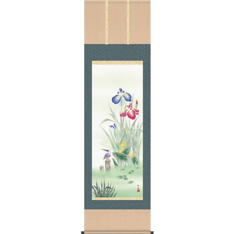 [掛軸][菖蒲にかわせみ]長江桂舟[尺五][花鳥画の掛軸][H29A3-085]【代引き不可】
