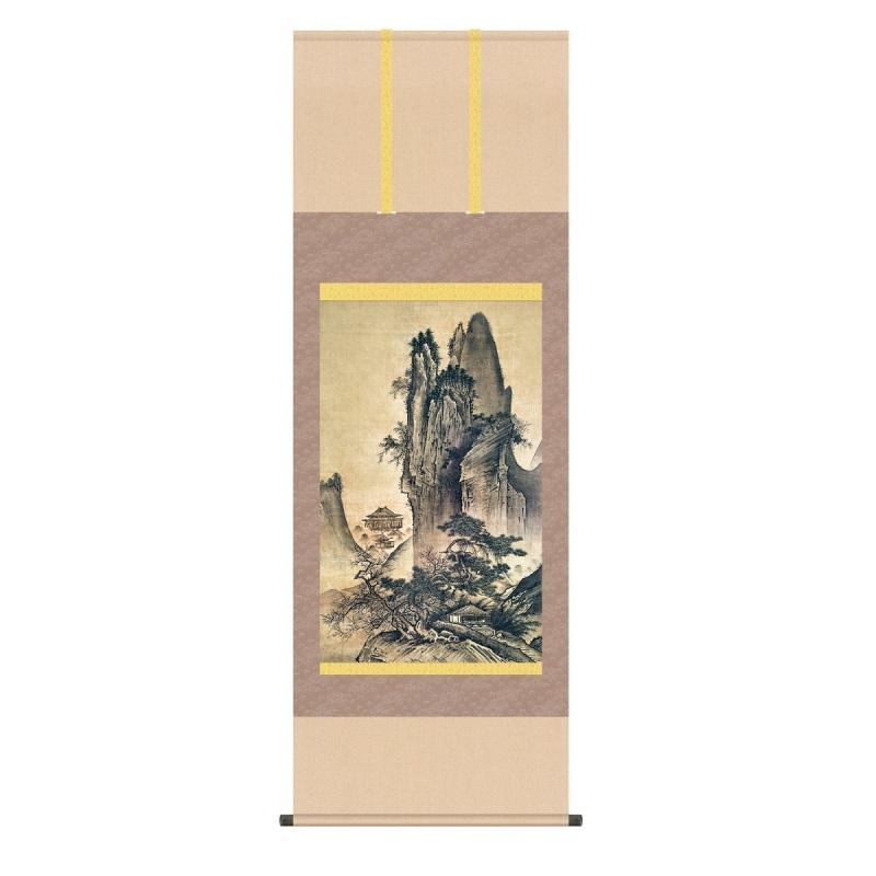 掛軸 雪舟 四季山水図(春) (しきさんすいず・はる) 尺五 (KZ3G9-083) (代引き不可)