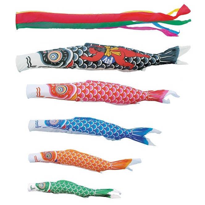 [キング印]鯉のぼり 庭園用[ポール別売り]大型鯉[10m鯉5匹]【ナイロン鯉】[金太郎付][五色吹流][日本の伝統文化][こいのぼり]