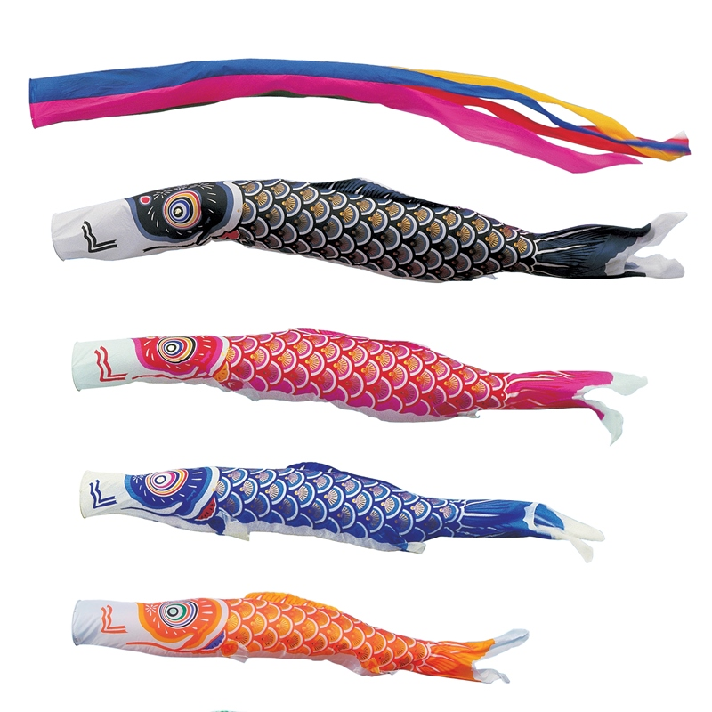 [キング印]鯉のぼり 庭園用[ポール別売り]大型鯉[5m鯉4匹]【ナイロンゴールド鯉】[五色吹流][日本の伝統文化][こいのぼり]