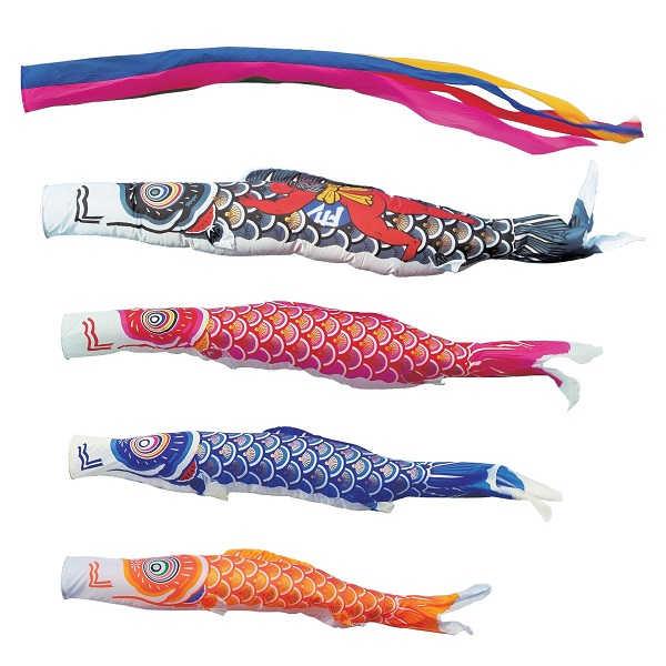 [キング印]鯉のぼり 庭園用[ポール別売り]大型鯉[10m鯉4匹]【ナイロンゴールド鯉】[金太郎付][五色吹流][日本の伝統文化][こいのぼり]
