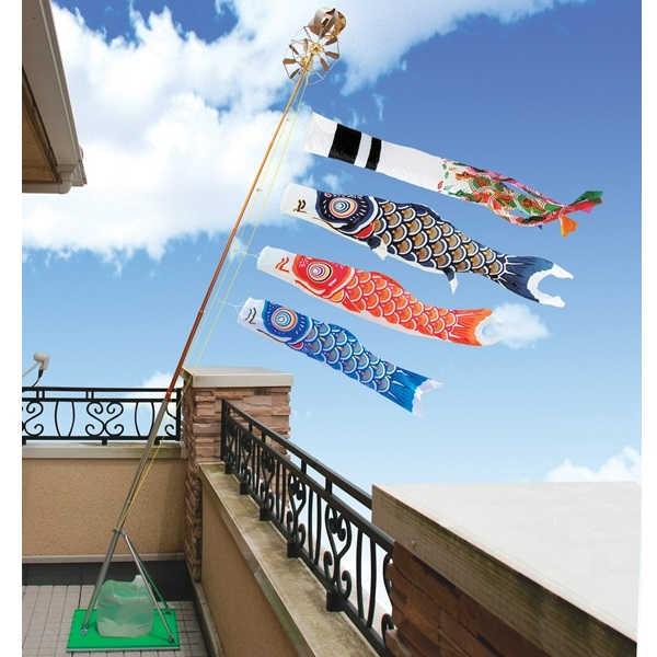 [キング印]鯉のぼり 玄関・ベランダ用[スタンドセット](水袋)ポールフルセット[1.5m鯉3匹]【ニューサテンゴールド】[日本の伝統文化][こいのぼり]