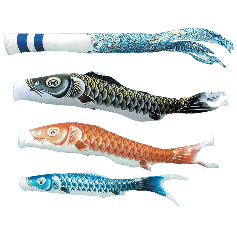 [キング印]鯉のぼり 庭園用[ポール別売り]大型鯉[7m鯉3匹]【瑞輝(みずき)撥水】[撥水加工][日本の伝統文化][こいのぼり]