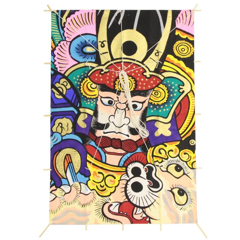 インテリア 手描き【和凧】新特大角凧 縦80×横55cm【ワ-3ホ】武者絵 虎退治 お正月飾り