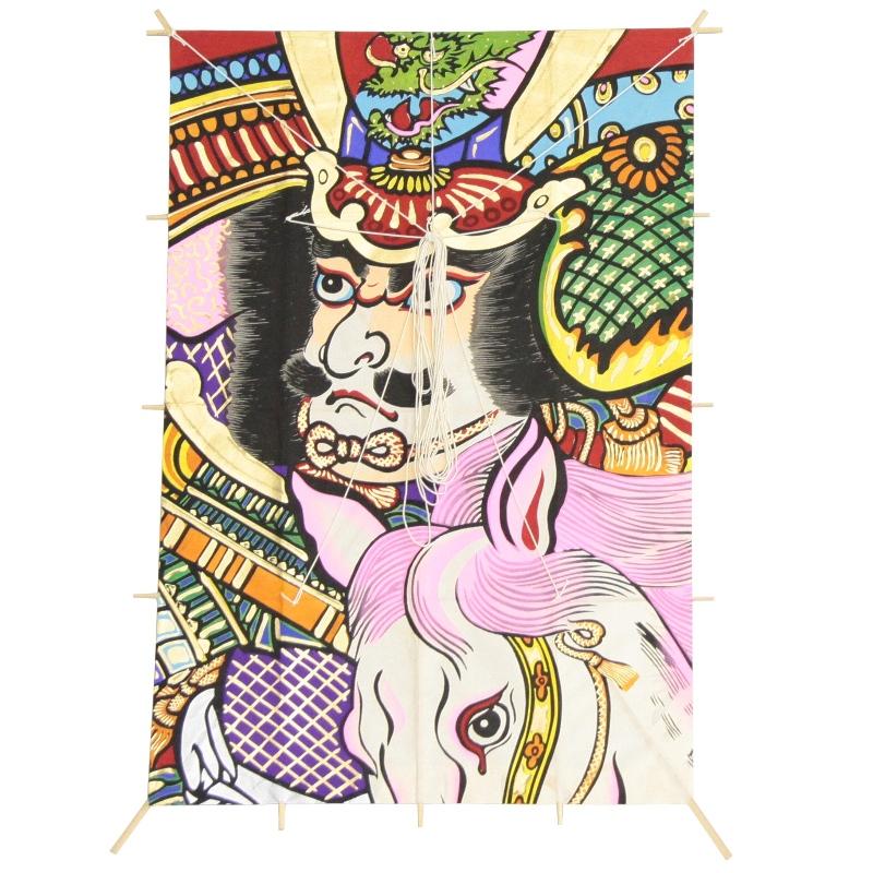 インテリア 手描き【和凧】新特大角凧 縦80×横55cm【ワ-3二】武者絵 馬上武者 お正月飾り