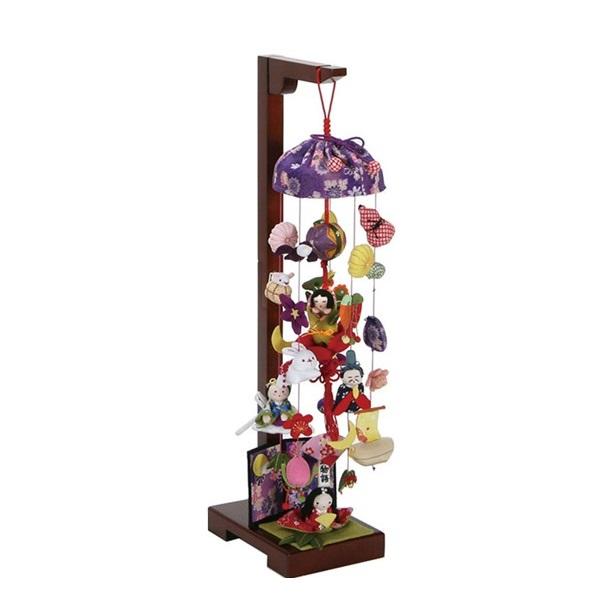 季節のインテリア、桃の節句のお祝いに、お雛様と飾る吊るし飾り。 吊るし飾り 竹取物語 小 スタンド付き 飾り台セット ひな祭りのさげ飾り 雛人形 高さ15cm インテリア