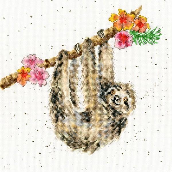 クロスステッチ刺繍キットHanging Around Sloth - Hannah Dale-Bothy Threads