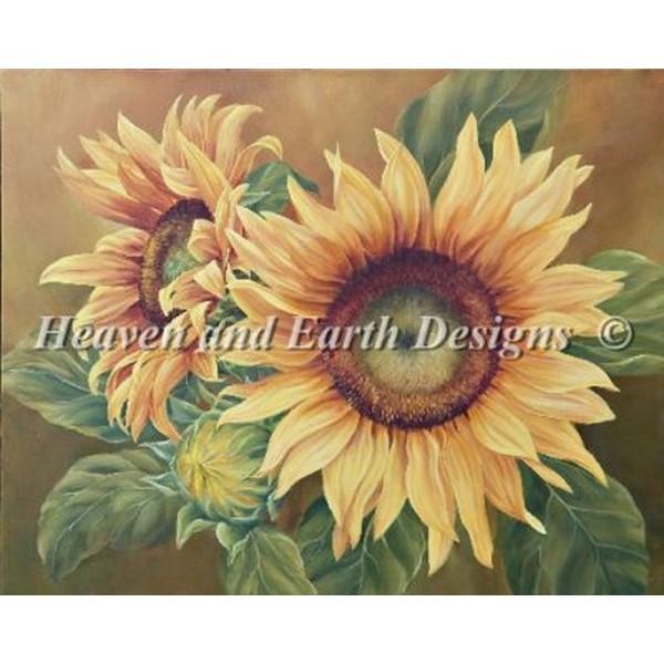 クロスステッチ キット 上級者 全面刺し Heaven And Earth Designs(HAED) - Marianne Broome - Sunflowers