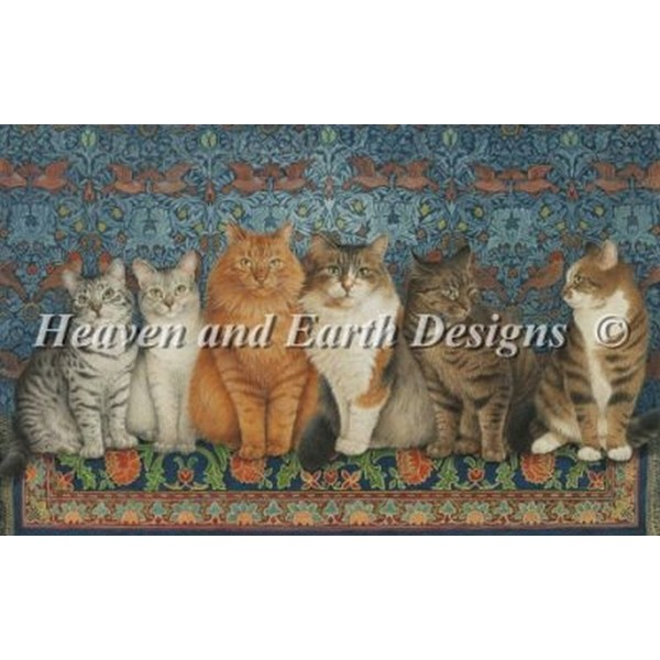 クロスステッチ キット 上級者 全面刺し Heaven And Earth Designs(HAED) - Lesley Anne Ivory - Lineup Of Cats