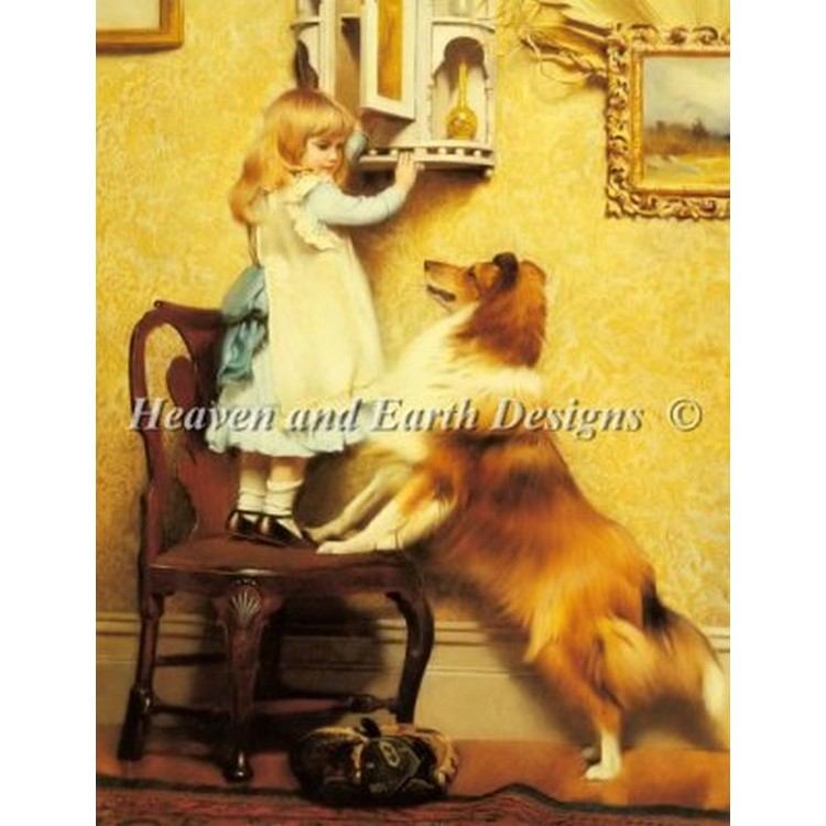クロスステッチ キット 上級者 全面刺し Heaven And Earth Designs(HAED) - Little Girl And Her Sheltie