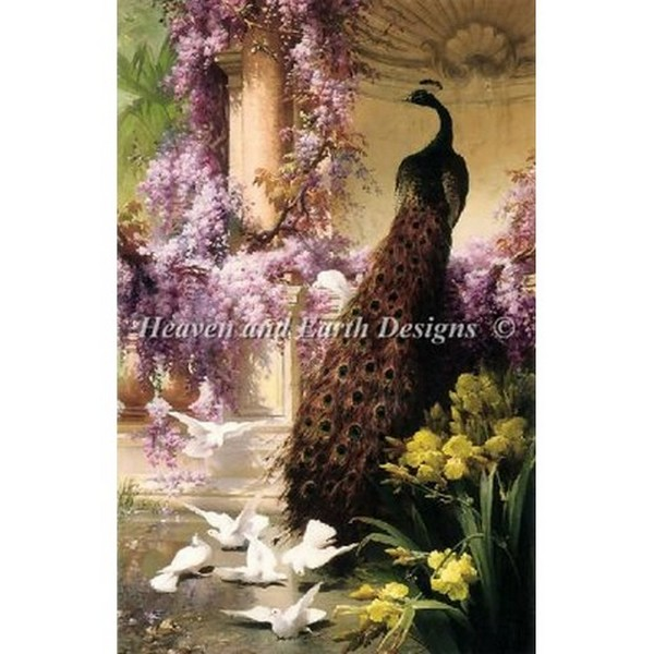 クロスステッチ キット 上級者 全面刺し Heaven And Earth Designs(HAED) - A Peacock and Doves in a Garden