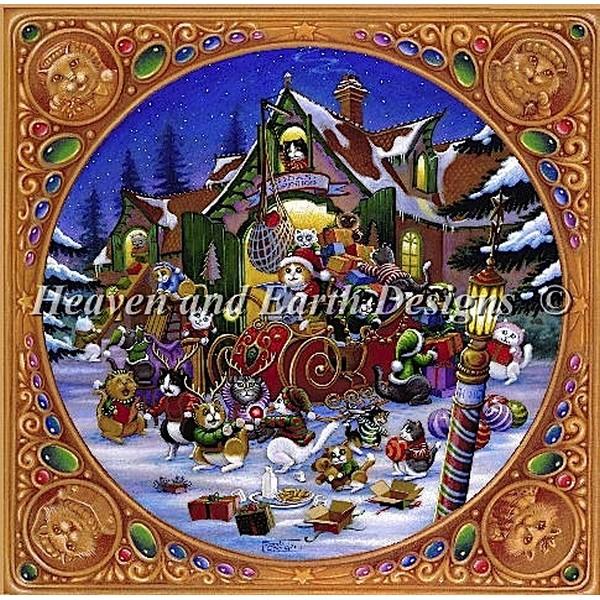 クロスステッチ キット 上級者 全面刺し Heaven And Earth Designs(HAED) - Here Comes Santa Paws