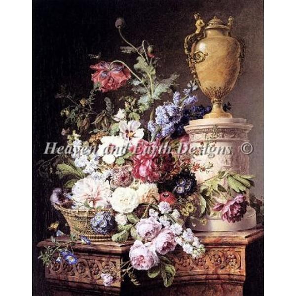 クロスステッチ キット 上級者 全面刺し Heaven And Earth Designs(HAED) - Still Life on a Marble Pedestal