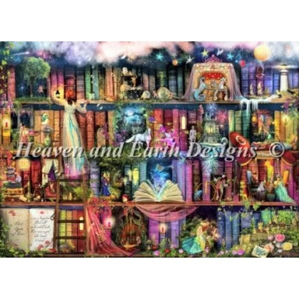 クロスステッチ キット 上級者 全面刺し Heaven And Earth Designs(HAED) - Treasure Hunt Bookshelf