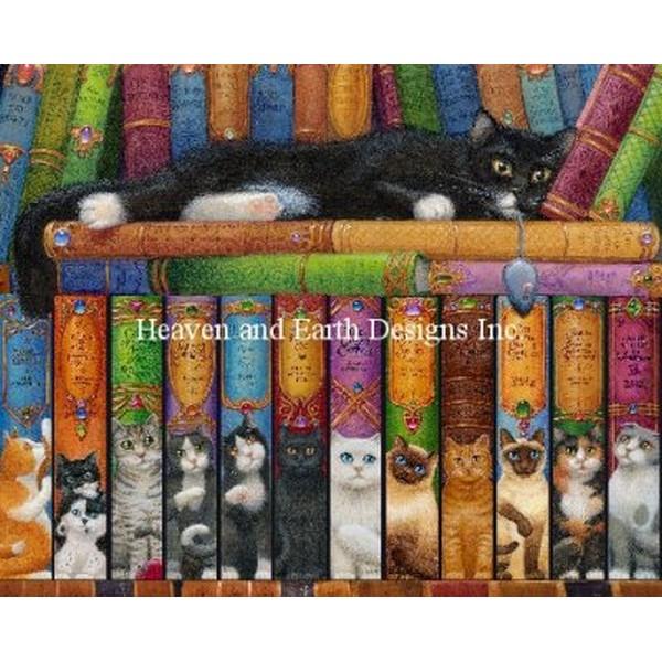 クロスステッチ刺繍キット Heaven And Earth Designs(HAED) - Cat Double Shelf