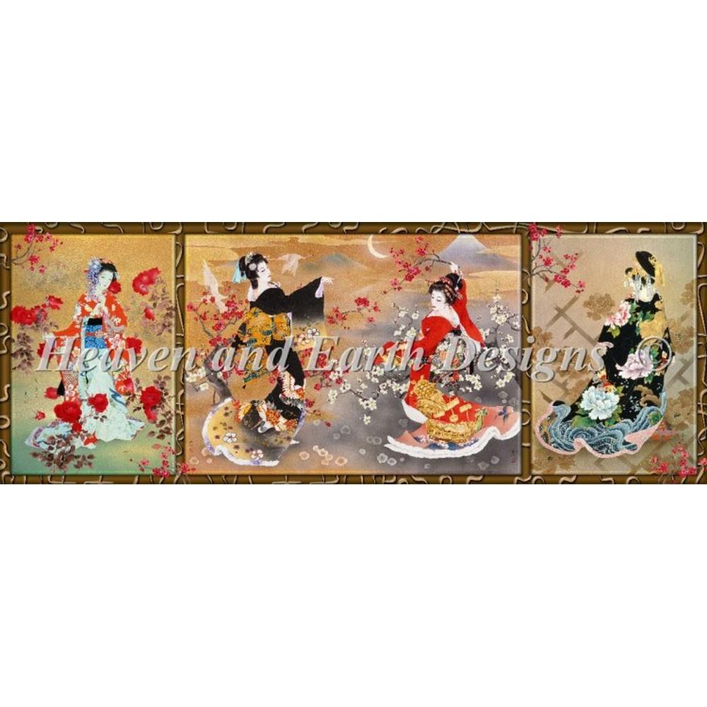 クロスステッチ刺繍キット クロスステッチキット 海外 Heaven And Earth Designs(HAED) - Oriental Triptych