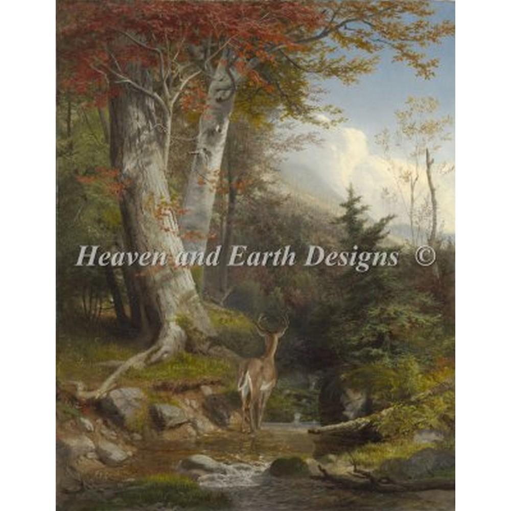 海外輸入の全面刺しのクロスステッチ刺繍図案です クロスステッチ刺繍図案 Heaven And Earth Designs Stream and ●日本正規品● HAED Mountain 初売り - Deer
