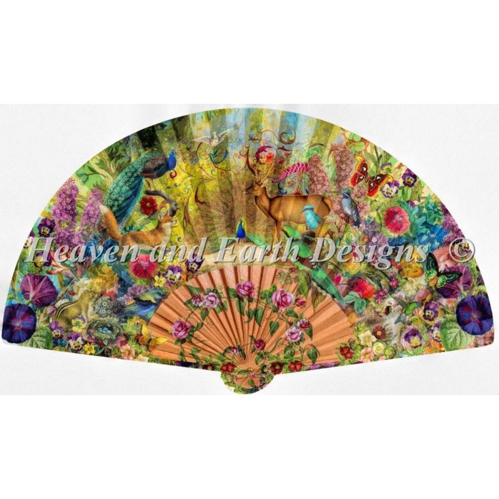 クロスステッチ キット 上級者 全面刺し Heaven And Earth Designs(HAED) - Abundant Garden Fan