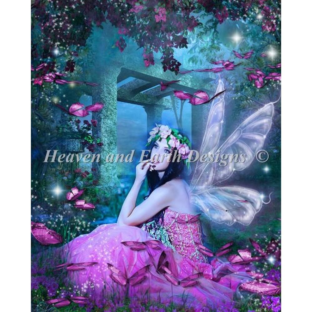 クロスステッチキット クロスステッチ刺繍キット 海外 Heaven And Earth Designs(HAED) - Butterfly Pink