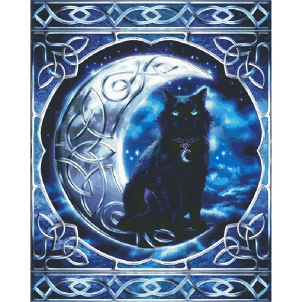 クロスステッチ キット 上級者 全面刺し Heaven And Earth Designs(HAED) - Midnight Moon Celtic Black Cat