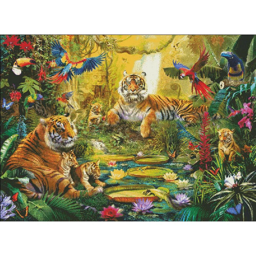 クロスステッチ 刺繍 トラ クロスステッチ刺繍キット Heaven and Earth Designs(HAED) - SS Tiger Family In Jungle