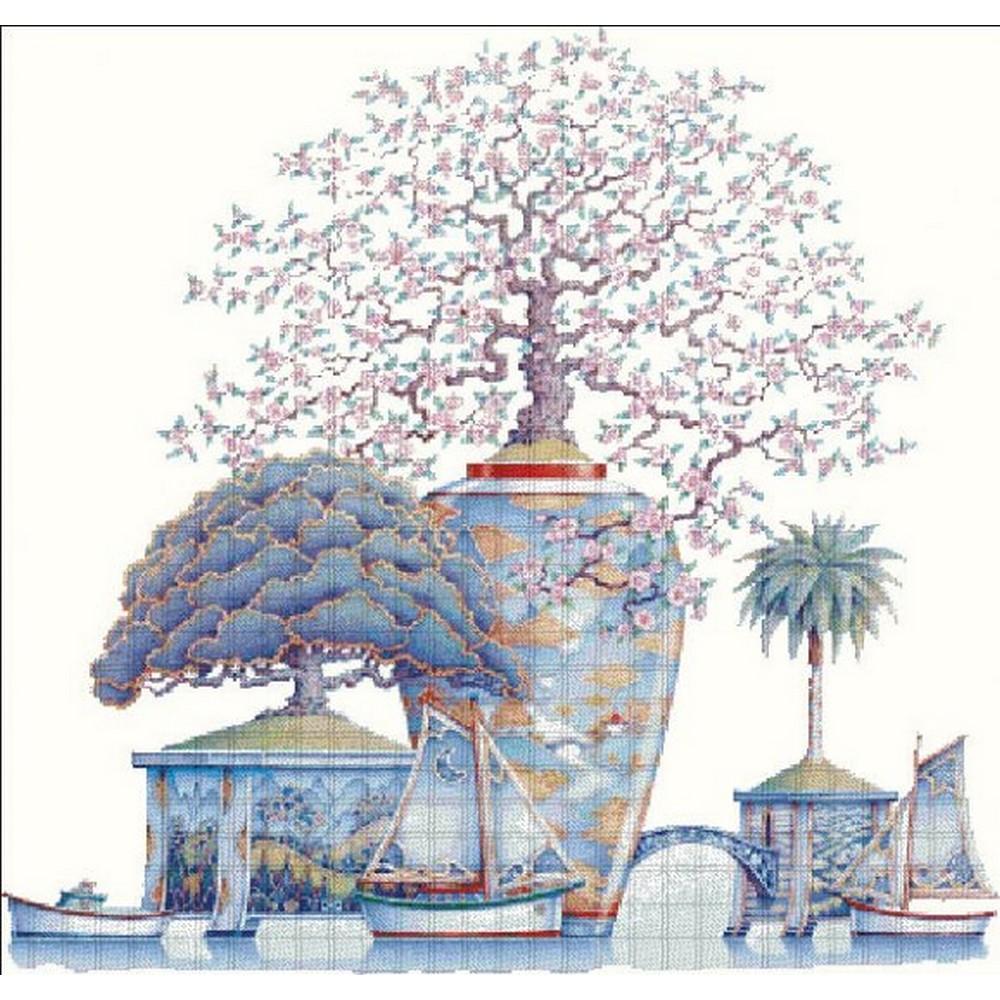 クロスステッチ キット 上級者 全面刺し Heaven And Earth Designs(HAED) - Cherry Blossom Lake