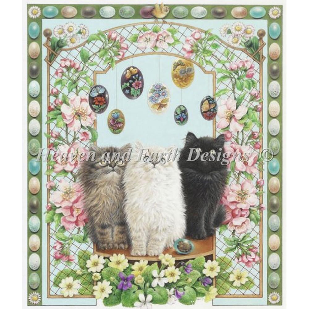 クロスステッチ キット 上級者 全面刺し 猫 Heaven And Earth Designs(HAED) - Easter With Annes Kittens
