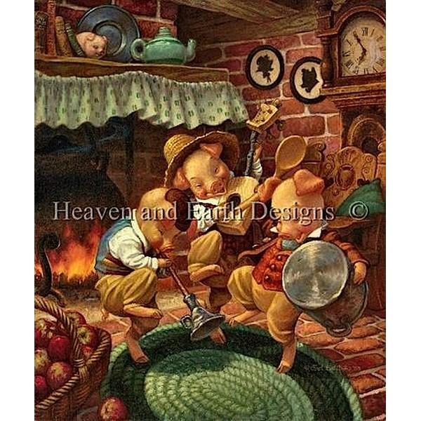 クロスステッチ キット 上級者 全面刺し HAED(Heaven And Earth Designs)-The Three Little Pigs Dancing