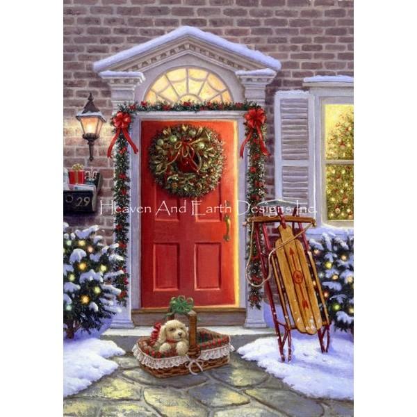 海外輸入の全面刺しのクロスステッチキットです クロスステッチ キット 上級者 全面刺し 格安激安 Mini Christmas 全国どこでも送料無料 Doorway Designs and 25ct-HAED Heaven Earth