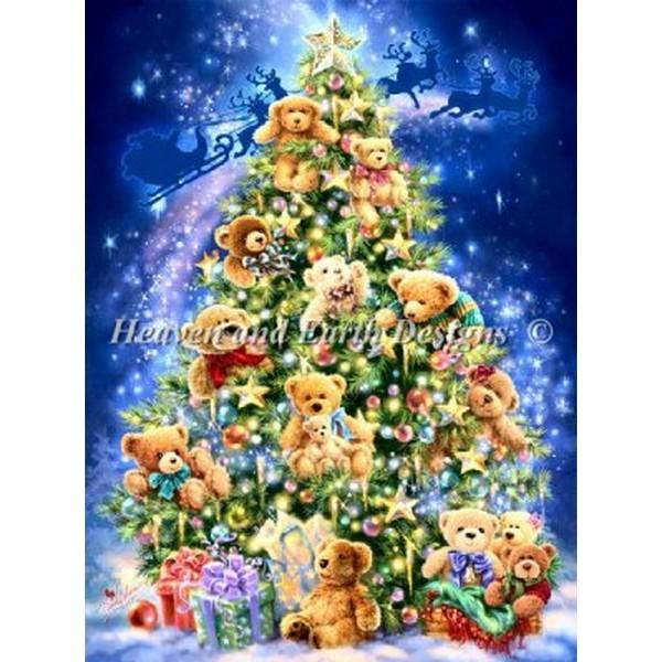 Mini Teddy Bear Tree クロスステッチ 刺繍 キット クリスマス 輸入 HAED(Heaven And Earth Designs) 手作りキット 手芸 テディベア プレゼント 動物 刺繍キット クロス ステッチ