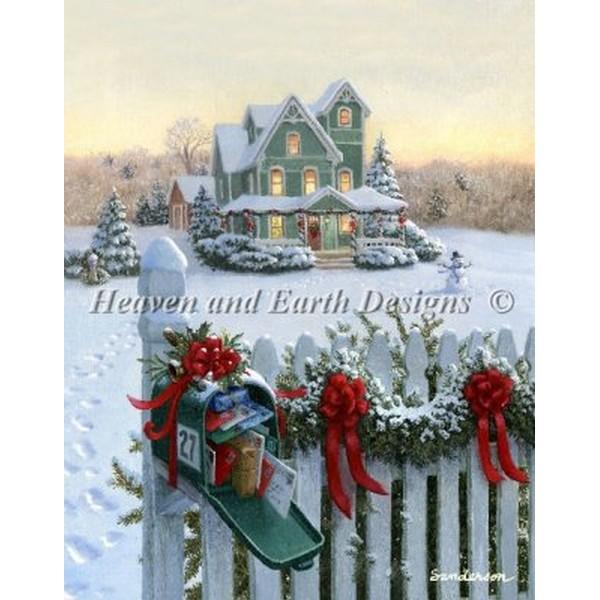 クロスステッチ刺繍キット HAED(Heaven And Earth Designs) - Mini Christmas Mailbox