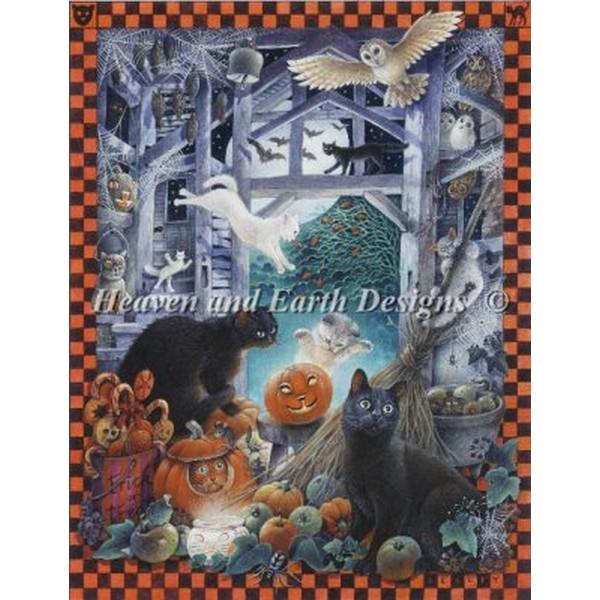 クロスステッチ キット 上級者 全面刺し 猫 HAED(Heaven And Earth Designs) - Mini Lesleys Cats At Halloween