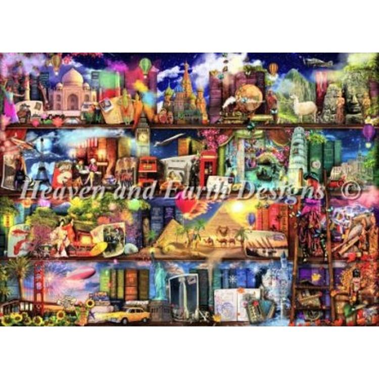 クロスステッチ刺繍キット クロスステッチキット 海外 Heaven And Earth Designs(HAED) - Mini World Travel Book Shelf
