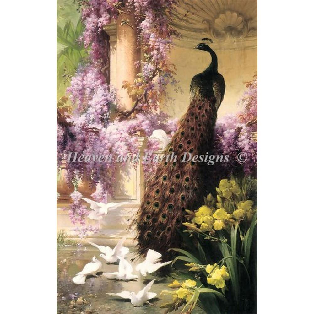 クロスステッチ キット 上級者 全面刺し Heaven And Earth Designs(HAED) - Mini A Peacock In A Garden