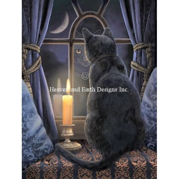 クロスステッチ キット 上級者 全面刺し 猫 Heaven And Earth Designs(HAED) - Mini Midnight Vigil