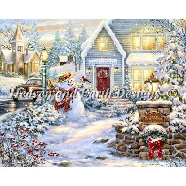 クロスステッチ キット 上級者 全面刺し クリスマス Heaven And Earth Designs(HAED) -Mini Silent Night Lane