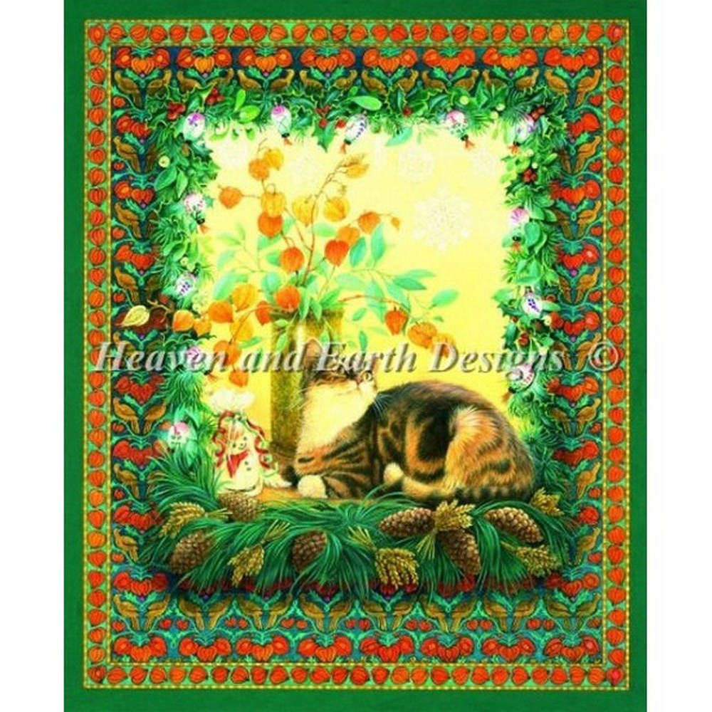 クロスステッチ キット 上級者 全面刺し猫 Heaven And Earth Designs(HAED) - Mini Sheena and The Lanterns