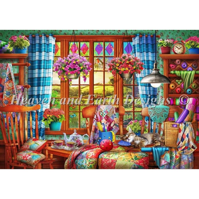 クロスステッチ 刺繍キットMini Patchwork Quilt Room-HAED(Heaven and Earth Designs)