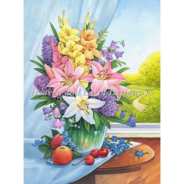 クロスステッチ キットMini Table Florals-HAED(Heaven and Earth Designs)25ctルガナ花のデザイン