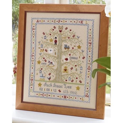 海外輸入のベビーサンプラークロスステッチ刺繍キットです クロスステッチ刺繍キット Historical Sampler - A-Z Boy Birth 物品 市販 Tree