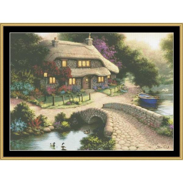 クロスステッチ刺繍キット Mystic Stitch - Read- Bridge Cottage
