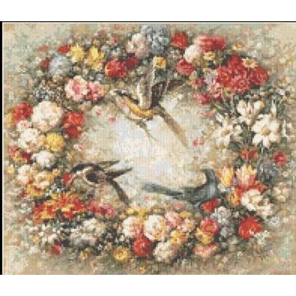 クロスステッチ刺繍キット Mystic Stitch - Birds & Flowers 花/鳥/リース