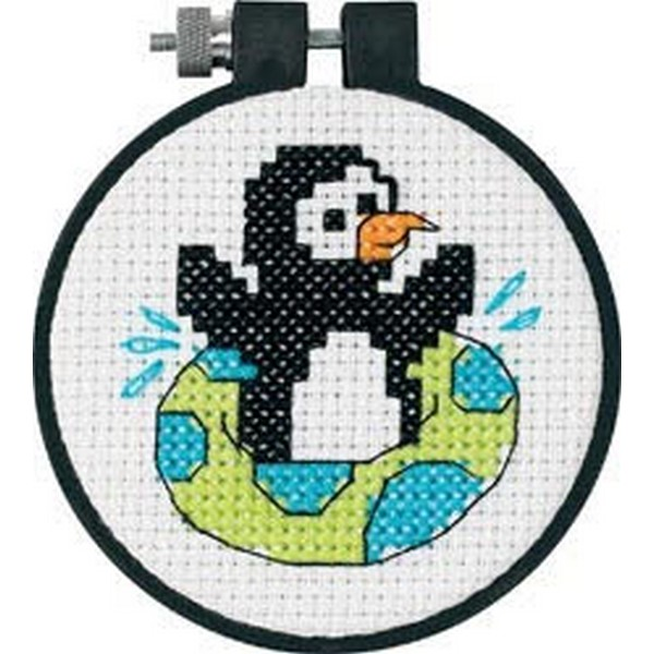 WEB限定 初心者向けフレーム付クロスステッチキット クロスステッチ刺繍キット Dimensions - Learn Craft 購入 Penguin A Playful