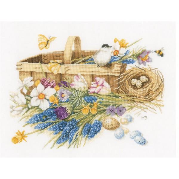 クロスステッチ刺繍キット Lanarte(ラナーテ) - Spring Flowers - Aida